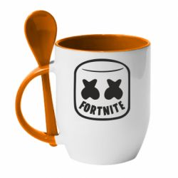 Кружка з керамічною ложкою Marshmello and Fortnite