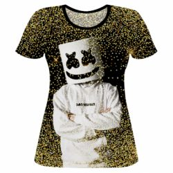 Женская 3D футболка Marshmello Dj and gold - FatLine