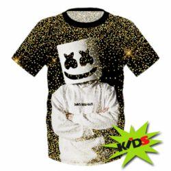 Детская 3D футболка Marshmello Dj and gold - FatLine