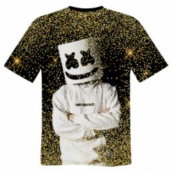 Мужская 3D футболка Marshmello Dj and gold - FatLine