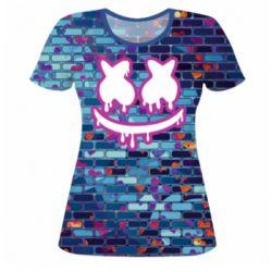 Женская 3D футболка Marshmello logo and color background - FatLine