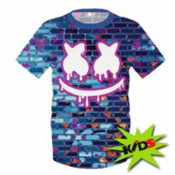 Детская 3D футболка Marshmello logo and color background - FatLine