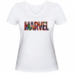 Женская футболка с V-образным вырезом Marvel comics and heroes
