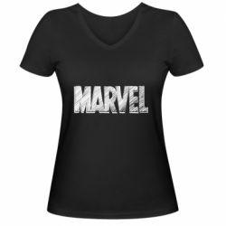 Жіноча футболка з V-подібним вирізом Marvel drawing