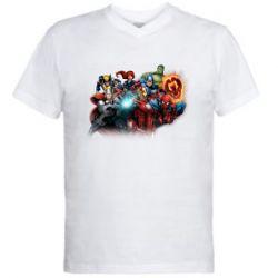Чоловіча футболка з V-подібним вирізом Marvel team