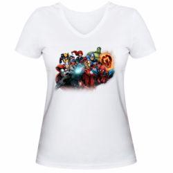Жіноча футболка з V-подібним вирізом Marvel team