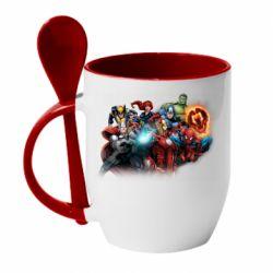 Кружка з керамічною ложкою Marvel team