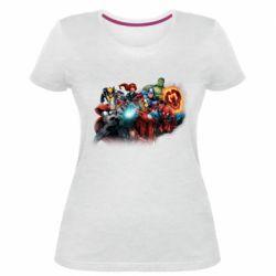 Жіноча стрейчева футболка Marvel team