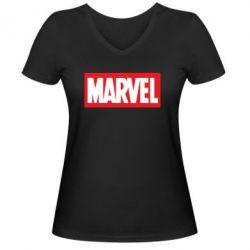 Женская футболка с V-образным вырезом MARVEL - FatLine