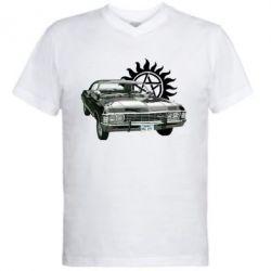 Мужская футболка  с V-образным вырезом Машина Винчестеров - FatLine