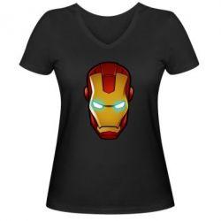 Женская футболка с V-образным вырезом Маскаа Железного Человека - FatLine