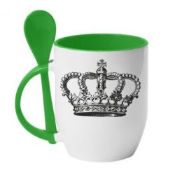 Кружка с керамической ложкой Массивная корона
