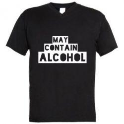 Мужская футболка  с V-образным вырезом May contain alcohol