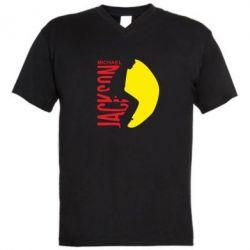 Мужская футболка  с V-образным вырезом Майкл Джексон - FatLine