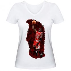 Женская футболка с V-образным вырезом Майкл Джордан
