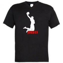 Мужская футболка  с V-образным вырезом Майкл Джордан - FatLine