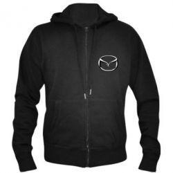 Мужская толстовка на молнии Mazda 3D Logo - FatLine