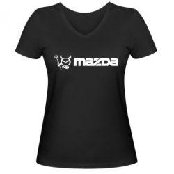 Женская футболка с V-образным вырезом Mazda - FatLine