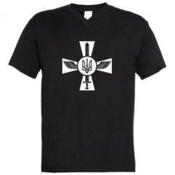 Мужская футболка  с V-образным вырезом Меч, крила та герб - FatLine