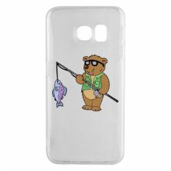 Чохол для Samsung S6 EDGE Ведмідь ловить рибу