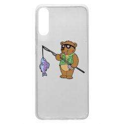 Чохол для Samsung A70 Ведмідь ловить рибу