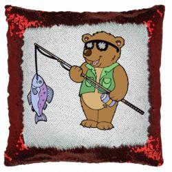 Подушка-хамелеон Ведмідь ловить рибу