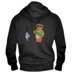 Мужская толстовка на молнии Медведь ловит рыбу - FatLine