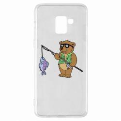 Чохол для Samsung A8+ 2018 Ведмідь ловить рибу
