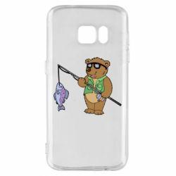 Чохол для Samsung S7 Ведмідь ловить рибу