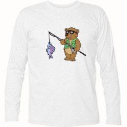 Футболка с длинным рукавом Медведь ловит рыбу - FatLine