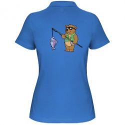 Женская футболка поло Медведь ловит рыбу - FatLine