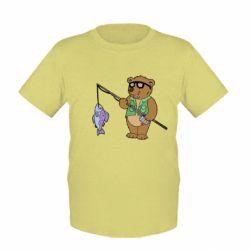 Детская футболка Медведь ловит рыбу - FatLine