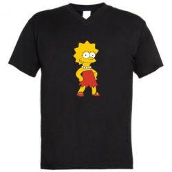 Мужская футболка  с V-образным вырезом Мэгги Симпсон - FatLine