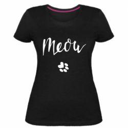 Жіноча стрейчева футболка Meow and the trail of a cat