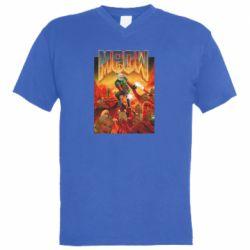 Мужская футболка  с V-образным вырезом Meow Doom