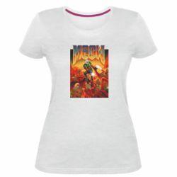 Женская стрейчевая футболка Meow Doom