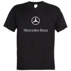 Мужская футболка  с V-образным вырезом Mercedes Benz logo - FatLine