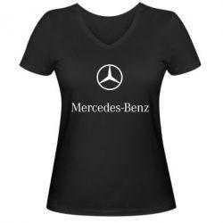 Женская футболка с V-образным вырезом Mercedes Benz logo - FatLine