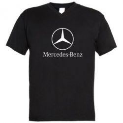 Мужская футболка  с V-образным вырезом Mercedes Benz - FatLine