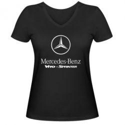 Женская футболка с V-образным вырезом Mercedes Benz - FatLine