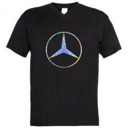 Мужская футболка  с V-образным вырезом Mercedes Лого Голограмма