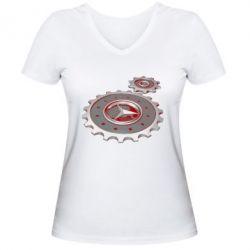 Женская футболка с V-образным вырезом Mercedes logo механизм