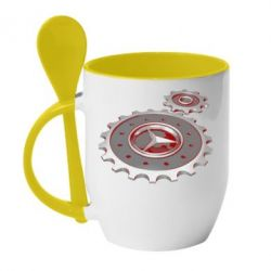 Купить Кружка с керамической ложкой Mercedes logo механизм, FatLine
