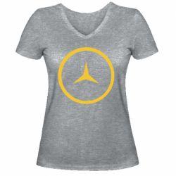 Женская футболка с V-образным вырезом Mercedes new logo