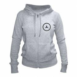 Женская толстовка на молнии Mercedes new logo