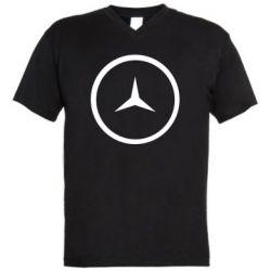Мужская футболка  с V-образным вырезом Mercedes new logo