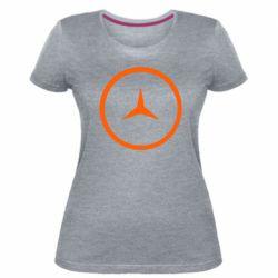 Женская стрейчевая футболка Mercedes new logo