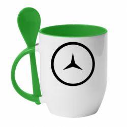 Кружка с керамической ложкой Mercedes new logo