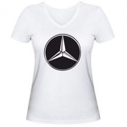 Женская футболка с V-образным вырезом Mercedes - FatLine