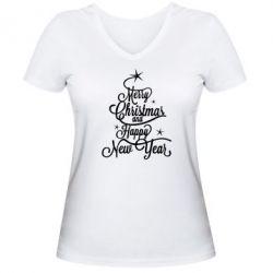 Женская футболка с V-образным вырезом Merry Christmas and Happy New Year